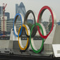 Olympic Games London 2012: Olympic Rings on River Thames