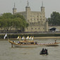 Olympic Games London 2012: boat with Olympic Torch