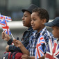 Olympic Games London 2012: children with GBR-flags