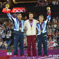 Olympic Games London 2012: podium pommel horse, SMITH Louis GBR, WHITLOCK Max GBR + BERKI Krisztian HUN