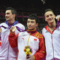 Olympic Games London 2012: podium parallel bars, NGUYEN Marcel/GER + FENG Zhe CHN + SABOT Hamilton FRA