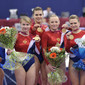 Worlds Trampoline St. Petersburg 2009: victory ceremony women tumbling, team RUS