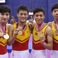 Worlds Trampoline St. Petersburg 2009: team CHN with medals