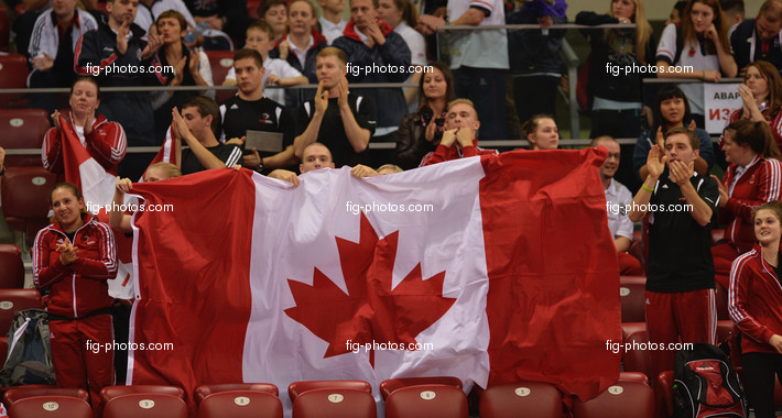 Trampoline WCh Sofia/BUL 2013: fans from CAN with flag