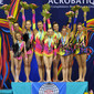 ACRO WCh 2014 Paris/FRA: podium women's group, GBR+RUS+BEL