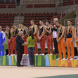 2016 Olympic Games Test Event: victory ceremony, GER + NED + UKR