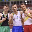 2016 Olympic Games Test Event: podium floor, BEHAN Kieran IRL + VERNIAIEV Oleg UKR + ABAD Nestor ESP