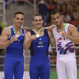 2016 Olympic Games Test Event: podium rings, ZANETTI Arthur BRA  + AIT SAID Samir FRA + PETROUNIAS Eleftherios GRE