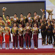 Aerobic WCh 2016 Incheon/KOR: aerobic dance, award ceremony, team KOR+CHN+RUS