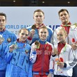 The World Games, Wroclaw/POL 2017: ceremony MxP, RUS-BLR-GBR