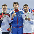 The World Games, Wroclaw/POL 2017: ceremony men's DMT, ZALOMIN-RENKERT-CARVALHO COSTA