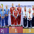 The World Games, Wroclaw/POL 2017: ceremony women's group, RUS-BLR-GBR