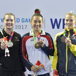 The World Games, Wroclaw/POL 2017: ceremony women's double mini - HOWARD Paige USA -  O'BRIEN Tamara CAN - SJOEBERG Lina SWE