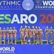RG WCh Pesaro/ITA 2017: ceremony ball/hoop, group RUS + JPN + BUL