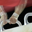 ART WCh Montreal/CAN: detail hands at pommel horse