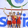 TRA WCh Sofia/BUL: ceremony men's tumbling, ZHANG Kuo CHN + WESCH Anders DEN + BROWNE Elliot GBR