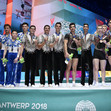ACRO WCh 2018 Antwerp/BEL: ceremony men's group, ISR+CHN+RUS