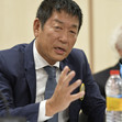 RG WCh Sofia/BUL 2018: press conference, WATANABE Mori, FIG president
