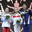 ART-Junior WCh Györ/HUN 2019: ceremony beam, GERASIMOVA Elena RUS + WEI Xiaoyuan CHN + DI CELLO Kayla USA