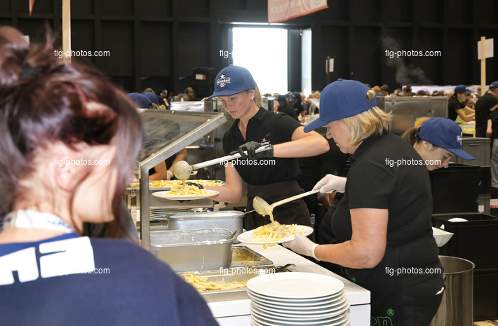 World Gymnaestrada Dornbirn/AUT 2019: volunteers at dining hall