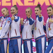 RG WCh Baku/AZE 2019: podium hoops and clubs, RUS