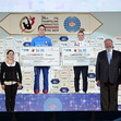 TRA WCh Tokyo/JPN 2019: VTB Prize for Accuracy Special Award Ceremony for LITVINOVICH Ivan BLR + LABROUSSE Léa FRA + TITOV Vasily RUS