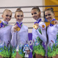 YOG 2010 Singapore: podium RG groups all-around, team RUS