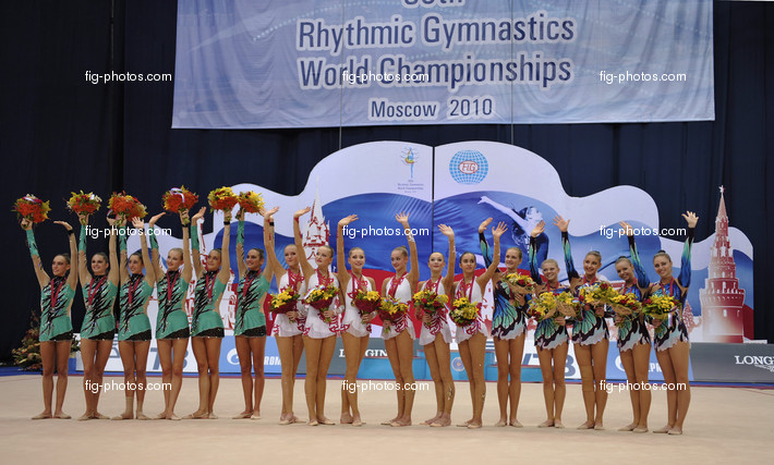 Rhythmic WCh Moscow/RUS 2010: podium groups ribbon and rope