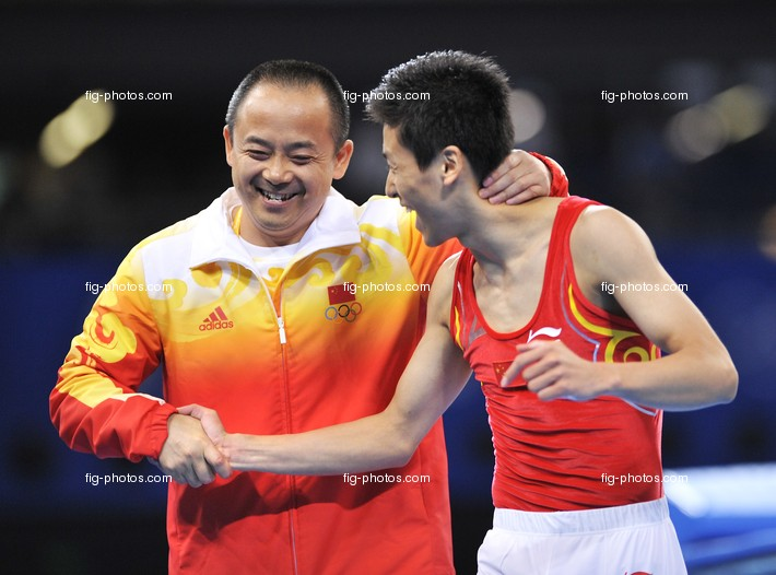 Olympic Games 2008:  DONG Dong/CHN + coach